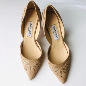 Jimmy Choo Nude & Gold Speckled Pumps